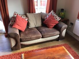 Brown 3 seater and 2 seater sofa including footstool from sofology