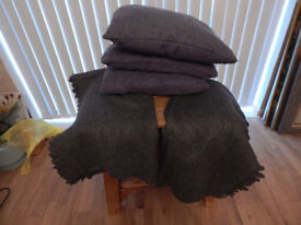 Cushions Grey X 3 and 2 throws