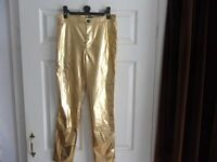NEW PRAGUE TROUSERS IN GOLD SIZE 28 INCH WAIST 27 INCH INSIDE LEG
