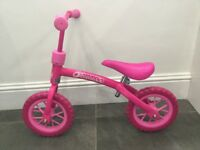 Girls Hauck Pink Balance Bike suitable for all ages to learn how to balance on a bike