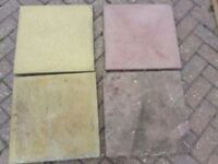 Patio paving slabs, mixed beige and reddish, approx 210 450x450x30mm (40+m2).