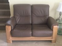 Leather/oak 2 seater sofa & arm chair