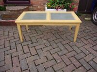 Coffee table, glass and solid wood, good condition