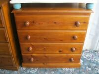 MODERN SOLID PINE ORNATE CHEST OF 4 DEEP DRAWERS. VIEWING / DELIVERY AVAILABLE