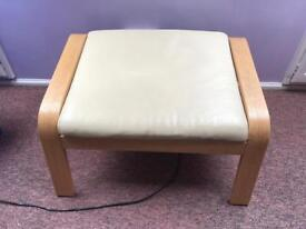Ikea Poang cream leather footstool, great condition