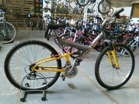 ADULTS SILVERSIDE FREERIDE BIKE 26 INCH WHEELS 21 SPEED FULL SUSPENSION GREY/YELLOW GOOD CONDITION