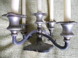 Ornate Five Arm Silver/ Metal Candle Holder Candelabra