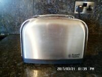 BRUSHED STEEL RUSSELL HOBBS 2 SLICE TOASTER FULL WORKING ORDER