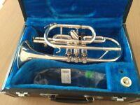 Silver Jupiter cornet in hard case