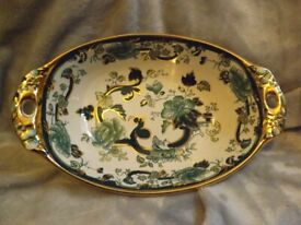 Vintage Mason Ironstone Green China Twin Handled Bowl