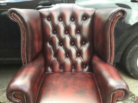 LEATHER CHESTERFIELD QUEEN ANNE CHAIR CLASSIC CHESTERFIELD CHAIR HIGH BACK WING BACK OXBLOOD CAN DEL