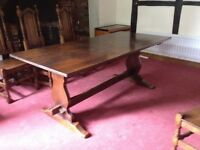 Oak refectory table and 8 chairs