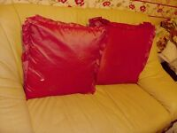 2 PIECE AND 3 PIECE CREAM LEATHER SOFAS INCLUDING HOME MADE CUSHION IN GOOD,