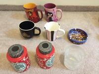 Cups, ashtray and slat&pepper container