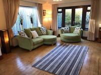 Dfs Green Fabric Corner Sofa + Swivel Chair