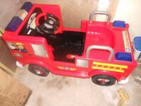 battery operated ride on firman sam fire engine with charger & new battery