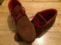 Tan suede lace up boot with red lining and laces size uk 10.5