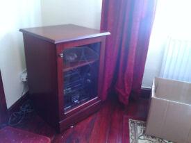 mahogany effect display cabinet.