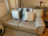 Italian cream leather sofa and armchair