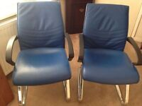 Pair Blue Waiting Room Office Salon Reception Chairs