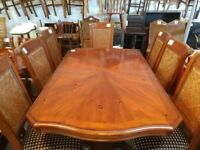 Large Extending Stained Pine Dining Table & 8 Chairs