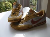 Nike vintage trainers yellow and silver with red tick