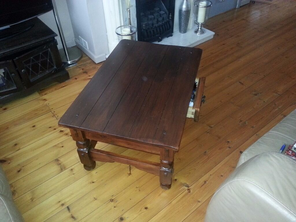 Coffee Table And Side Both Jacobean Oak In Good Condition Available Singly