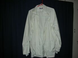 Waterproof bowling jacket & trousers, white. Jacket large trousers medium leg 31
