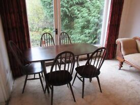 Ercol vintage 1960s plank dining table and chairs