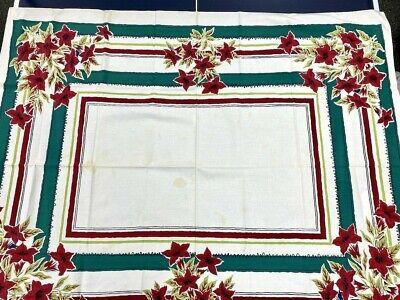 "Vtg 1940s Simtex Kitchen Tablecloth Mid Century 50x64"" Card Bridge Poinsettia"