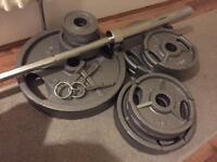 Olympic weights set 7ft Barbell like new!