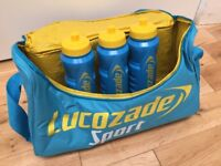 BRAND NEW Lucozade Sport Branded Gym Trainer Physio Shoulder Bag with Four Branded Water Bottles