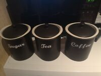 Tea, Coffee and Sugar ceramic storage containers