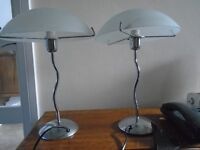 Pair white glass and chrome table lamps