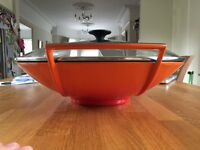 Le Creuset 32cm wok with a glass lid in bright volcanic