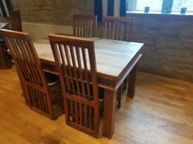 Solid Wood Dining Table & 4 Chairs - Excellent Quality