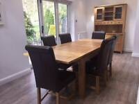 Solid Oak Dining Table, 6 Leather Chairs, Solid Oak Dresser