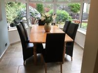 Pine Dining Room table and 8 chairs