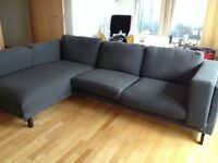 2-seat sofa with chaise longue dark grey - LIKE NEW!! - 10 months old