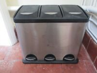 Stainless Steel 3 compartment bin