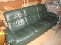 Ekornes Stressless 3 Seater Recliner Sofa in Green Leather