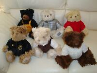 COLLECTORS' TEDDY BEARS - LOVELY JOB LOT OF 6 LIMITED EDITION BEARS