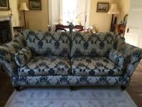 Large 4 seater sofa. Blue/Cream/Silver Pattern. Traditional Style