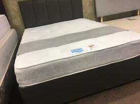 Grey leather bed xdisplay With Mattress