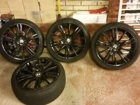 BMW MV3 M Sport alloys in black. 4 wheels with tyres.