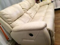 Leather Double and Single Recliner Sofa