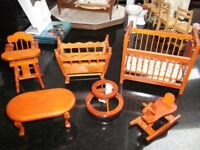 SELECTION OF WOODEN, PORCELAINE AND PLASTIC DOLLS HOUSE FURNITURE.