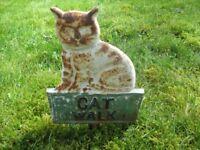 Especially for cat lovers!!! Metal 'Cat Walk' vintage garden sign