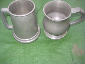 Two Miniature Pewter Mugs - for £5.00 Each