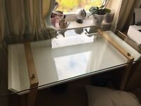 Glass and wood desk with white leather chair for sale